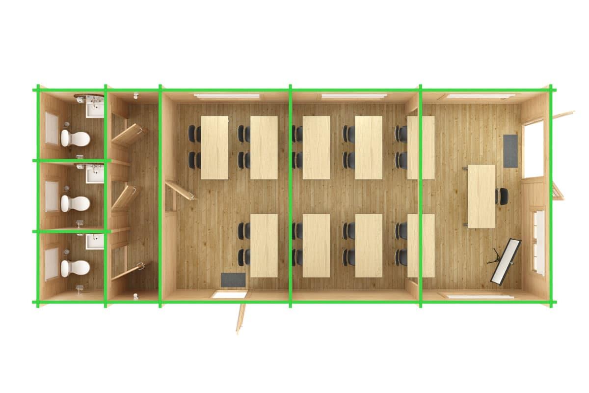 Ein Klassenzimmer im Holzhaus