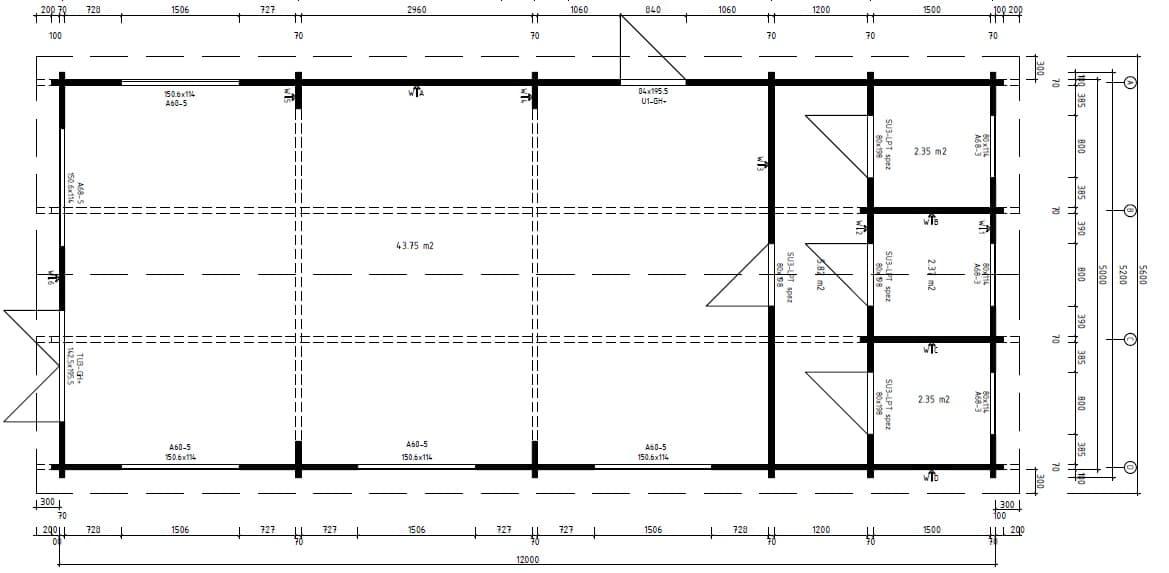 Ein Klassenzimmer im Holzhaus Grundplan