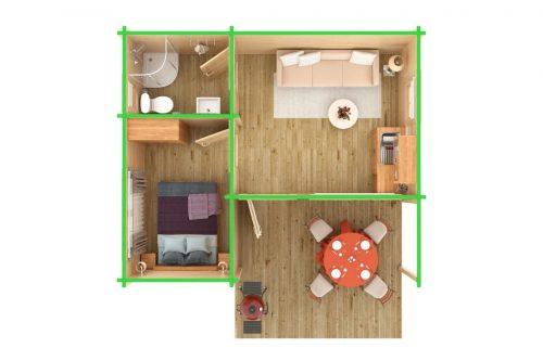 """3-Zimmer-Holzhaus """"Oscar"""" als Garten-Gästehaus"""