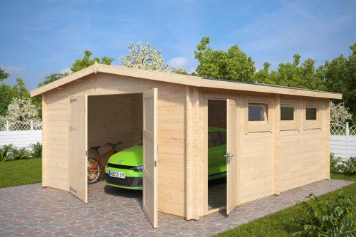 Große Holzgarage Hansa B mit Doppeltür