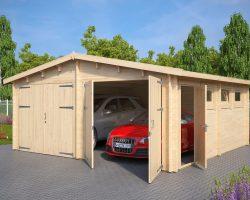 Doppelgarage E aus Holz mit Doppeltür