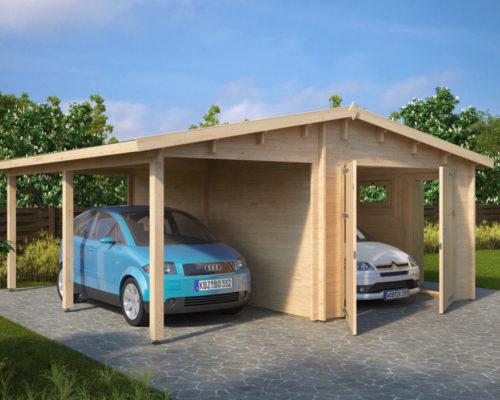 holzgarage g kombi modell garage mit carport 44mm hansagarten24. Black Bedroom Furniture Sets. Home Design Ideas
