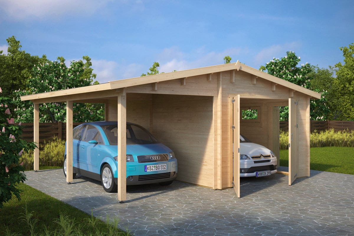 holzgarage g kombi modell garage mit carport 44mm hansagarten24. Black Bedroom Furniture Sets. Home Design Ideas