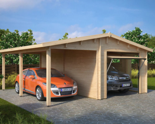 holzgarage g mit schwingtor kombi modell garage mit carport 44mm hansagarten24. Black Bedroom Furniture Sets. Home Design Ideas
