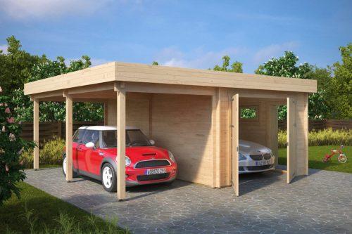Holzgarage H (Kombi-Modell Garage Mit Carport)