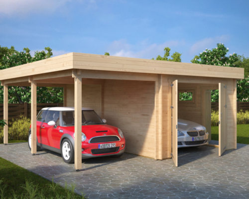 kombi modell mit carport und garage typ h 44mm 6 x 6 m. Black Bedroom Furniture Sets. Home Design Ideas