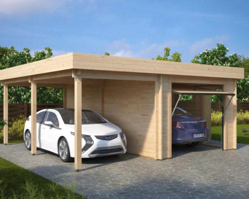 Kombi-Modell mit Carport und Garage Typ H mit Schwingtor