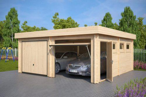 Moderne Doppelgarage aus Holz mit Schwingtor, Modell F