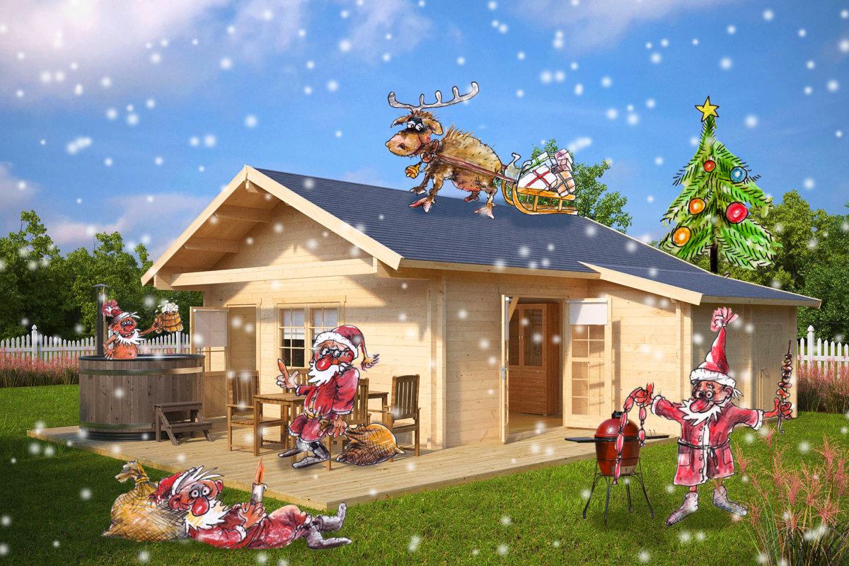 Spaß mit der Familie rund um das Gartenhaus im Winter