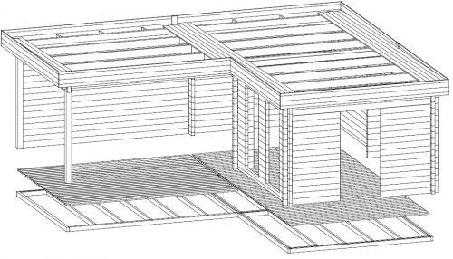"""Eck-Gartenhaus """"Hansa Deluxe A"""" mit großer Terrasse"""