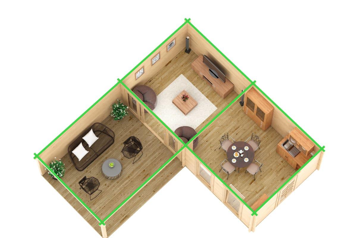 eck gartenhaus hansa deluxe a 22m2 70mm 3x7 hansagarten24. Black Bedroom Furniture Sets. Home Design Ideas