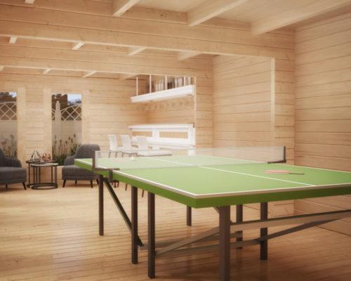 Ein Tischtennis-Raum im Garten