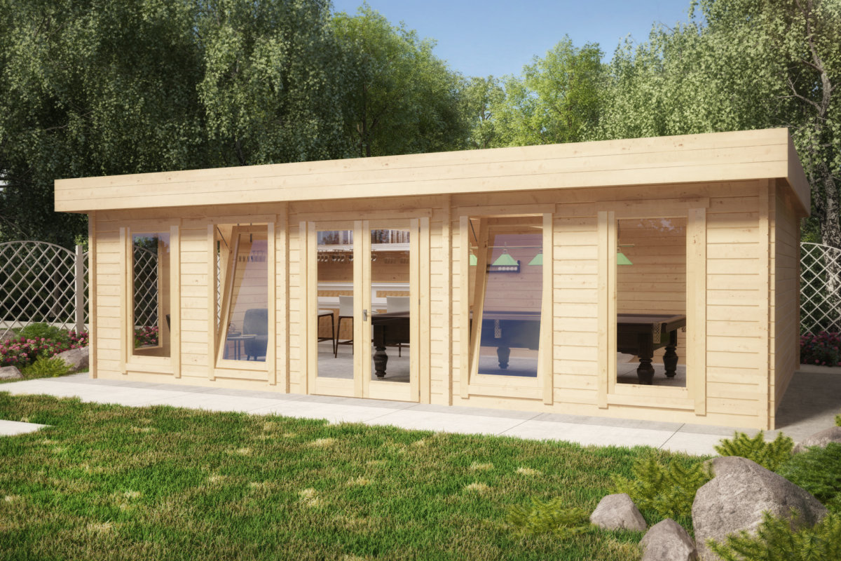 gartenhaus hansa b 38m2 70mm 8x5m hansagarten24. Black Bedroom Furniture Sets. Home Design Ideas