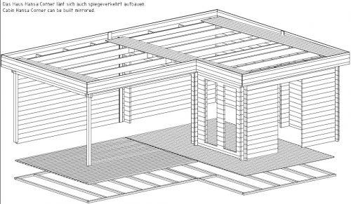 """Eck-Gartenhaus """"Hansa A"""" mit großer Terrasse"""