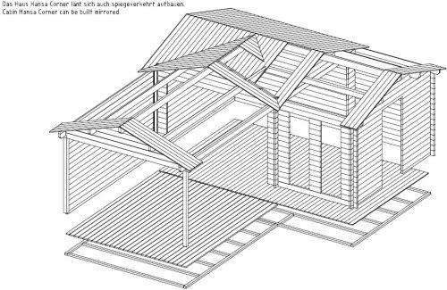 """Eck-Gartenhaus """"Hansa B"""" mit großer Terrasse"""