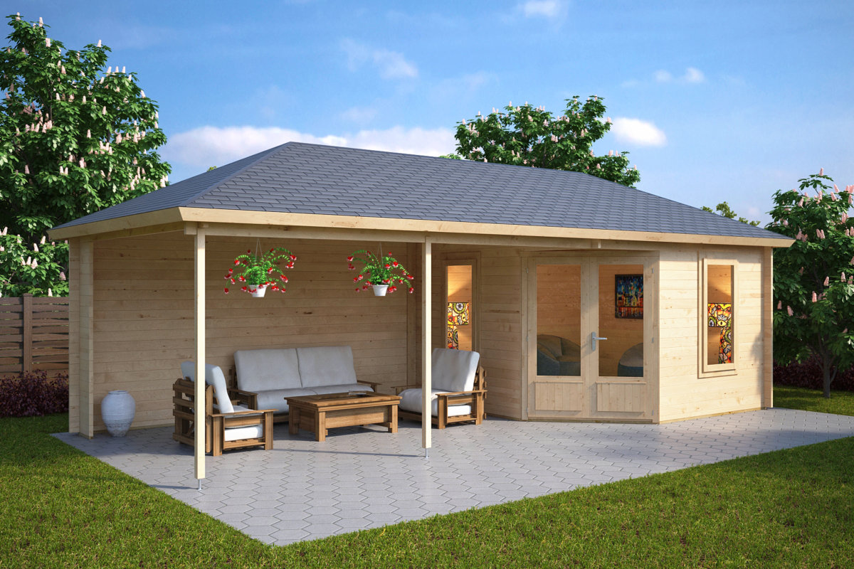 Gartenhaus mit dachterrasse sophia 10m 44mm 3x3 for Tiny garden rooms