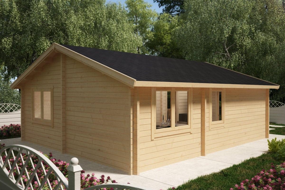 holzhaus mit zwei schlafzimmern irland 43 m2 70mm 7x6m hansagarten24. Black Bedroom Furniture Sets. Home Design Ideas