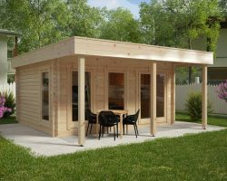 Großes Gartenhaus mit Vordach Ian E 2