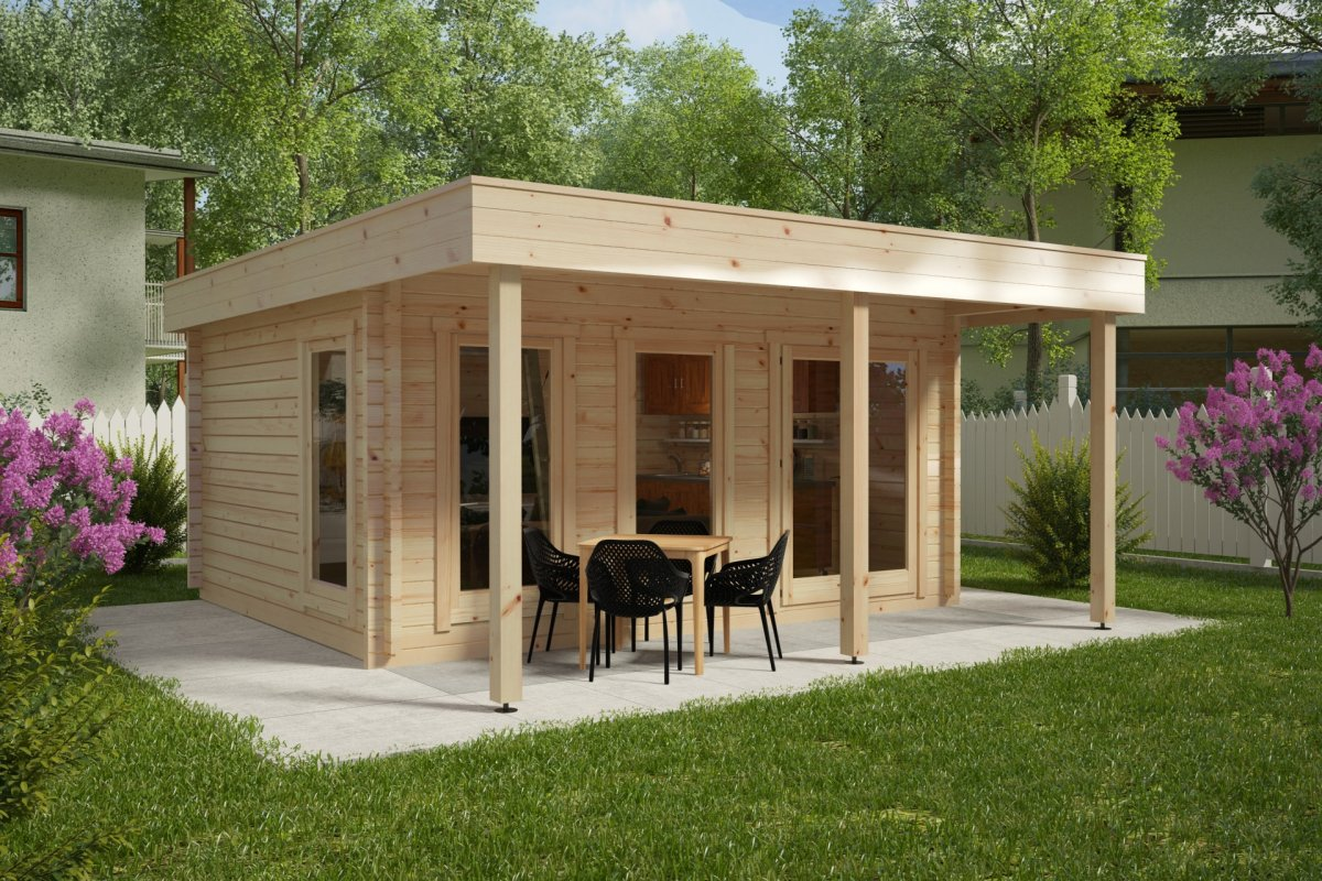 großes gartenhaus mit vordach ian e 18m² / 58mm / 4x5 - hansagarten24
