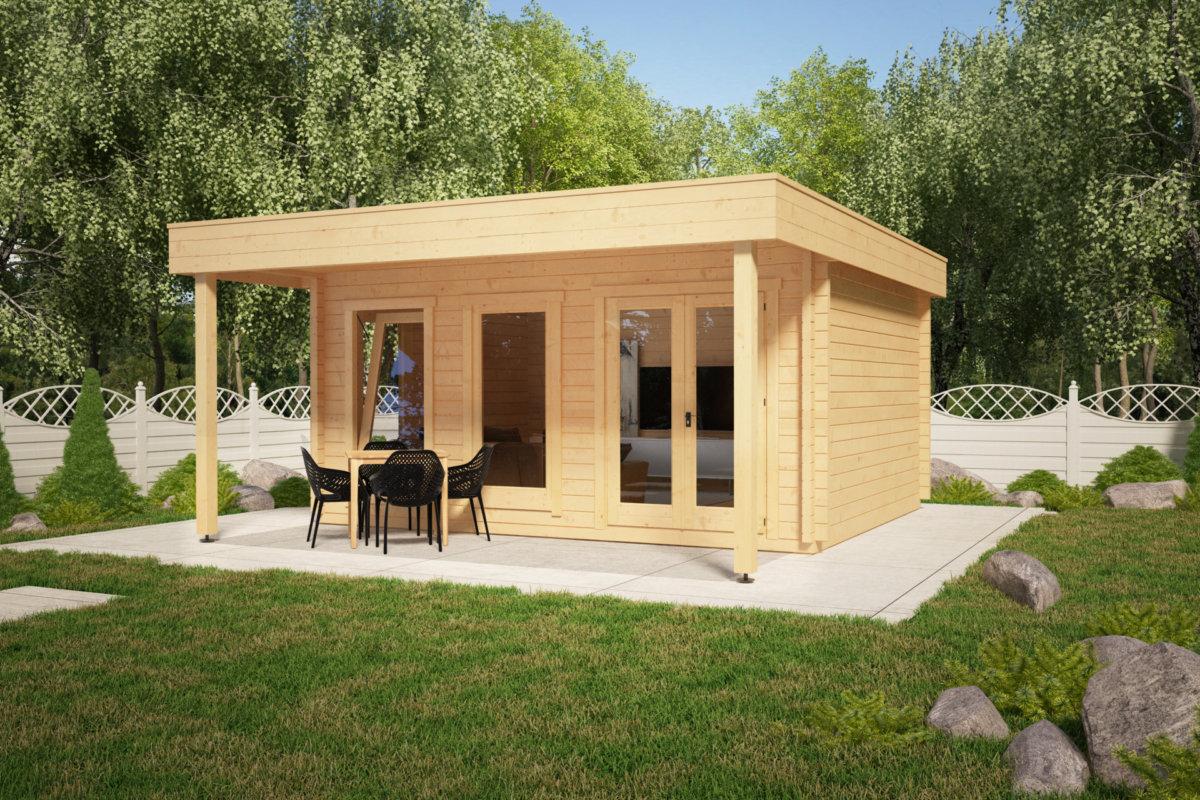 gro es gartenhaus mit vordach ian e 18m 50mm 4x5 hansagarten24. Black Bedroom Furniture Sets. Home Design Ideas