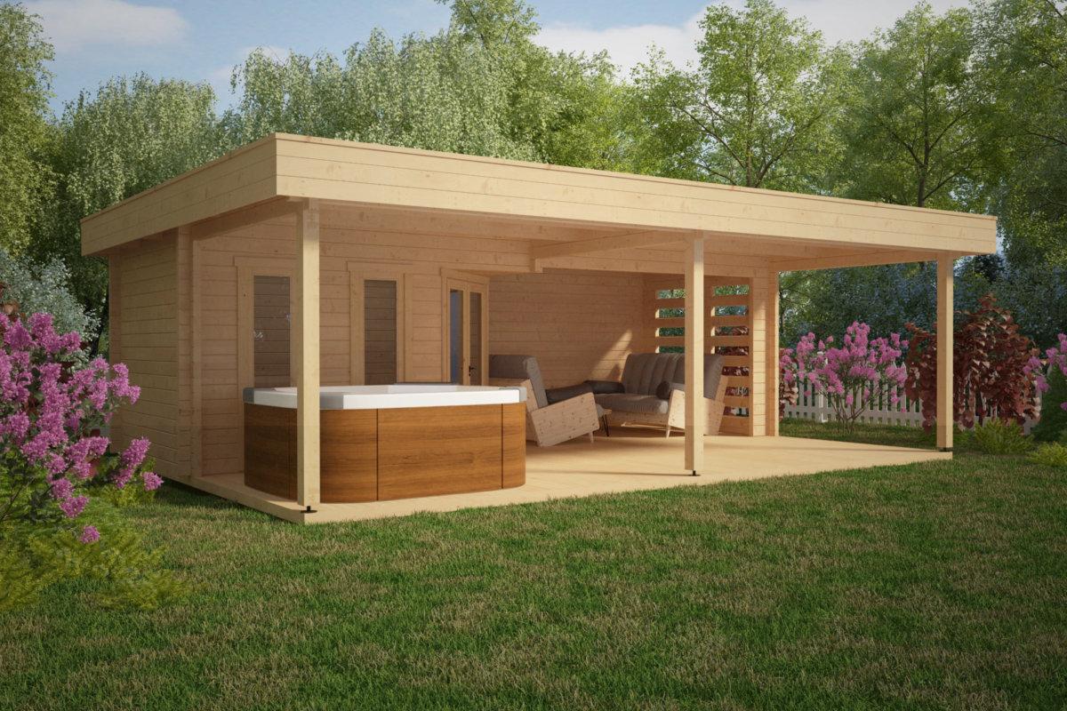 gartrenhaus mit gro er terrasse garden paradise a 10m2 50mm 6x8 hansagarten24. Black Bedroom Furniture Sets. Home Design Ideas