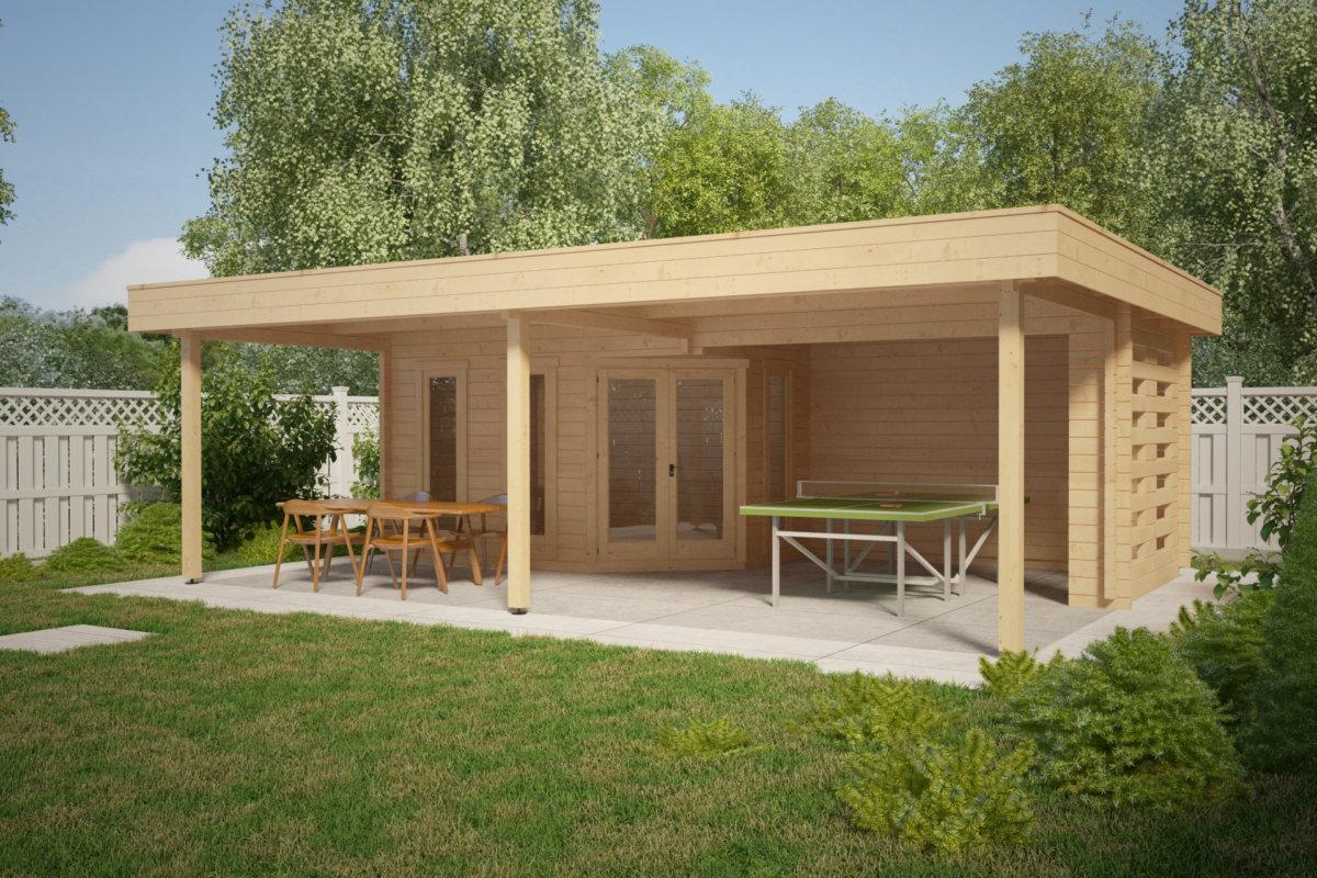 gartenhaus mit gro em sonnedach garden paradise b 10m2 50mm 6x8 hansagarten24. Black Bedroom Furniture Sets. Home Design Ideas
