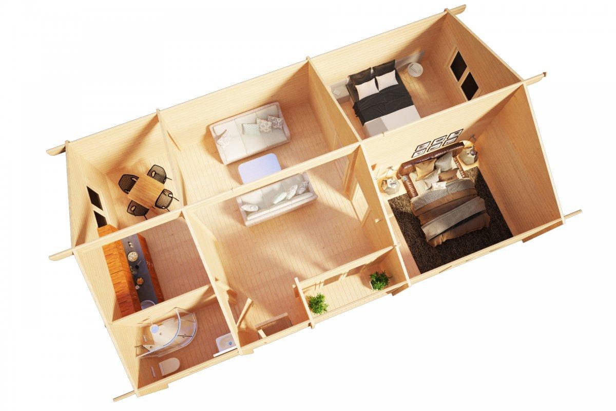 ferienhaus mit zwei schlafzimmern dune 70m2 70mm 12 x. Black Bedroom Furniture Sets. Home Design Ideas
