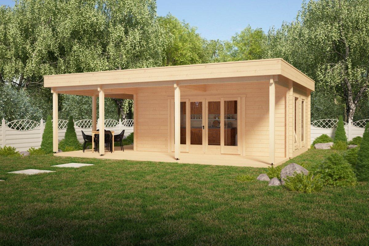 gartenhaus mit gro er terrasse remo 1 22m2 50mm 6 x. Black Bedroom Furniture Sets. Home Design Ideas