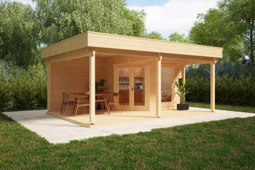 Gartenhaus mit großer Terrasse und Vordach Remo 3