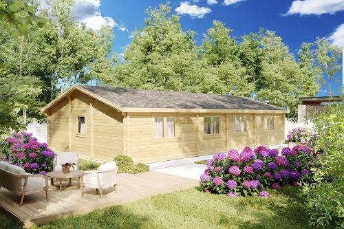 Blockhaus mit 3 Schlafzimmern Hansa Holiday G 100m2 14 x 7m 70mm