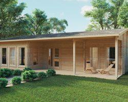Blockhaus-Ferienhaus Hansa Holiday C 50 m2 / 6 x 11 m / 70mm