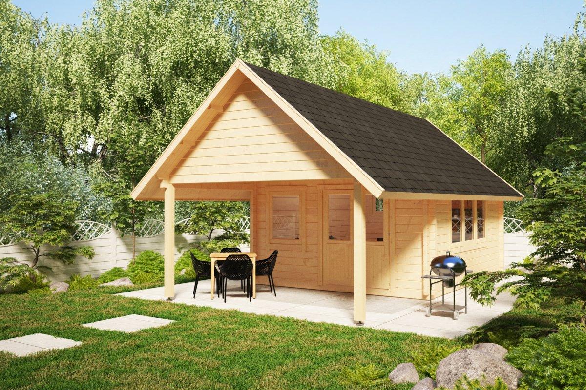 Gartenhaus Mit Sommerküche : Gartenhaus mit vordach mark m² mm m hansagarten