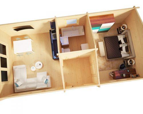 Blockhaus mit 1 Schlafzimmer Hansa Holiday H 40m2