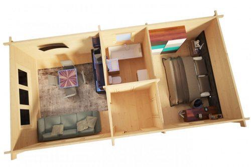 Ferienhaus mit einem Schlafzimmer Holiday 40m2 / 4,5 x 9 m / 70mm