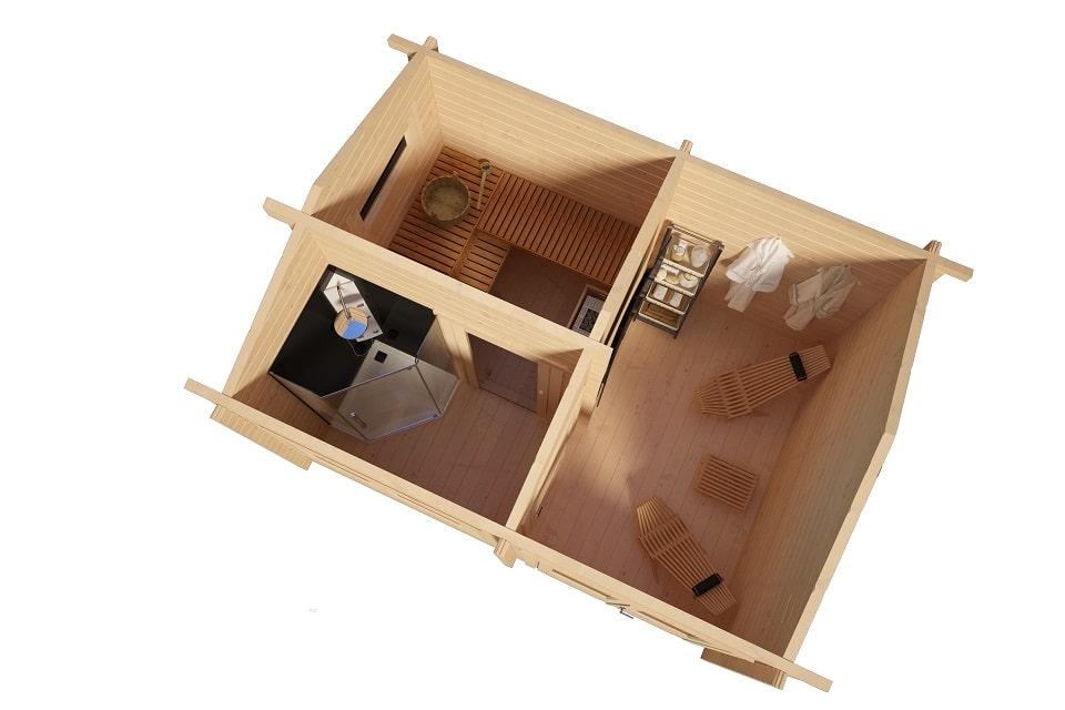 gartensauna finland 11m2 3 x 4 m 70mm hansagarten24. Black Bedroom Furniture Sets. Home Design Ideas