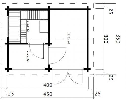 Garten Sauna Kabine Finnland 11m2 / 3 x 4 m / 70mm
