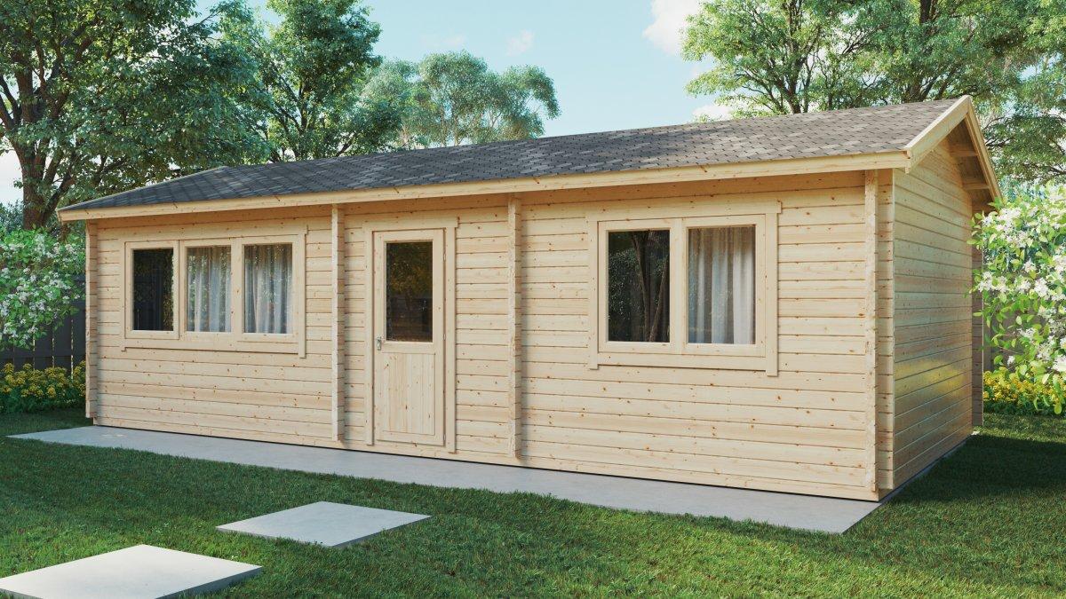 Blockhaus mit 1 Schlafzimmer Hansa Holiday H 40m2 / 4,5 x 9 m / 70mm