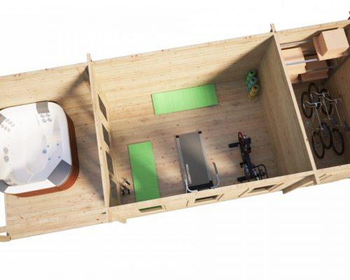Gartenhaus mit Schuppen und Veranda Super Jacob E 18m² / 44mm / 3x9m