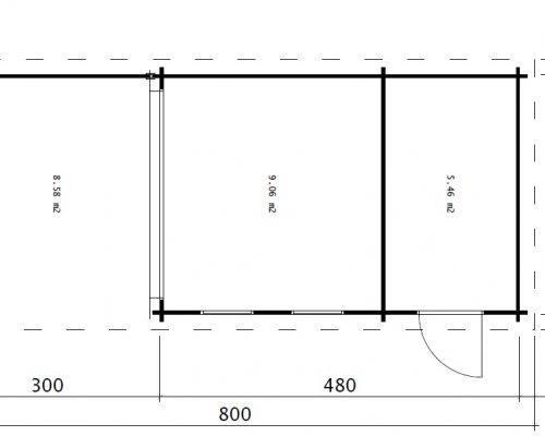 Multifunktionales Gartenhaus Super Lucas E 15m² / 44mm / 3x8m