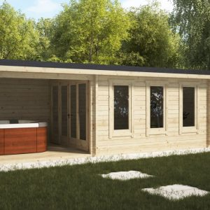Gartenhaus mit Veranda und Schuppen Super Eva E 18 m2 / 9 x 3 m / 44 mm