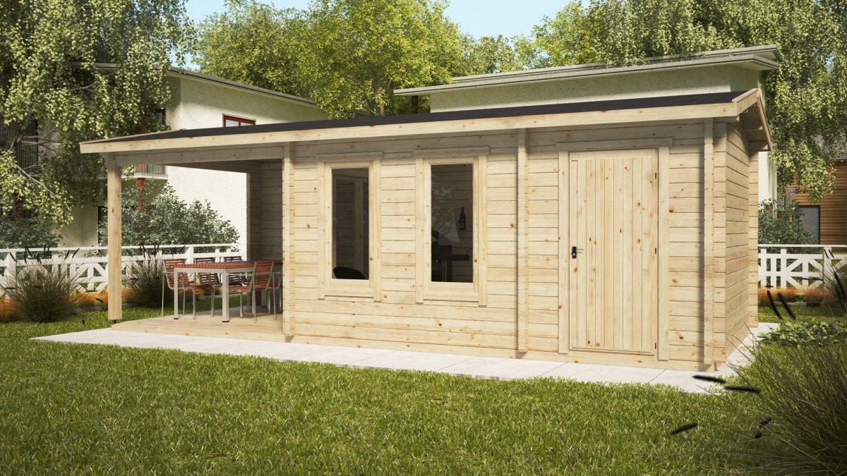 gartenhaus super nora e mit terrasse und schuppen 15 m2
