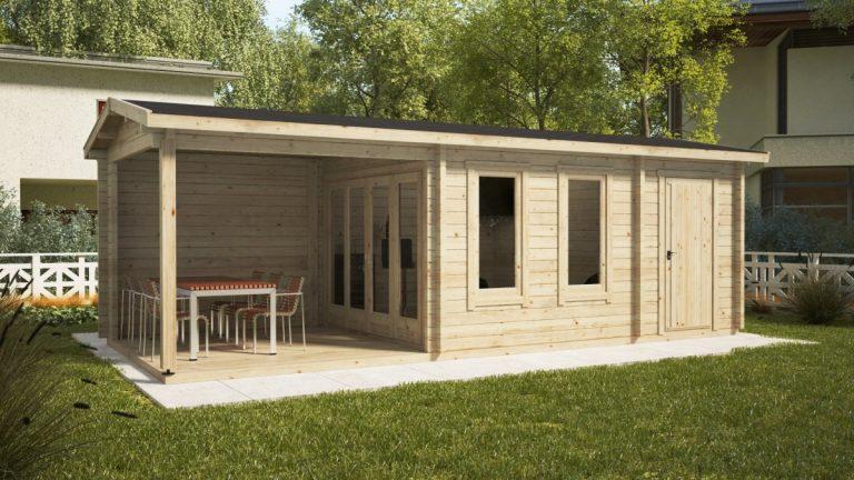 Gartenhaus Super Nora E mit Terrasse und Schuppen 15 m2 / 8 x 3 m / 44 mm