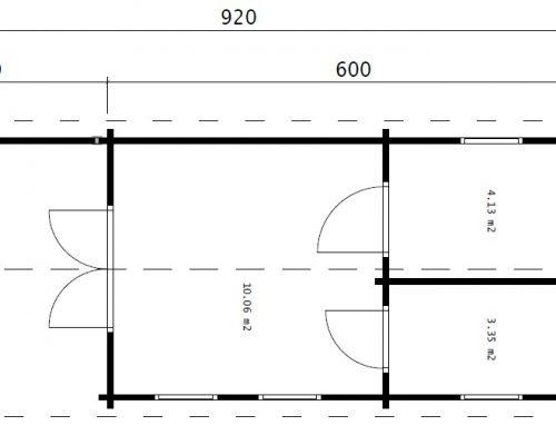 Holzhaus mit 1 Schlafzimmer Hansa Holiday Camping 18m2 / 3 x 9 m / 70mm