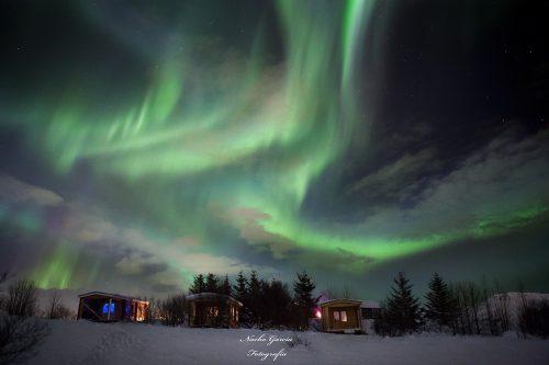 Unser Camping-Holzhaus in Island mit Polarlicht