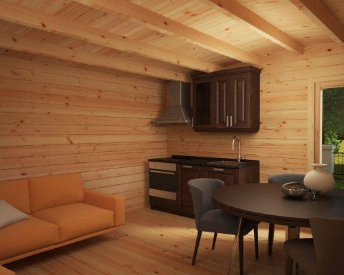 Holzhaus Costa A 19 m2 / 5 x 5 m / 70 mm