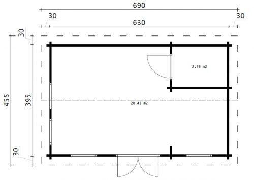 """Blockhaus mit Badezimmer """"Schweden A"""" 23m2 / 6 x 4 m / 70mm"""