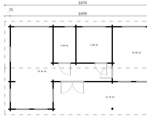 """Blockhaus mit zwei Schlafzimmern """"Holiday K"""" 40 m2 / 6 x 10 m / 70mm"""