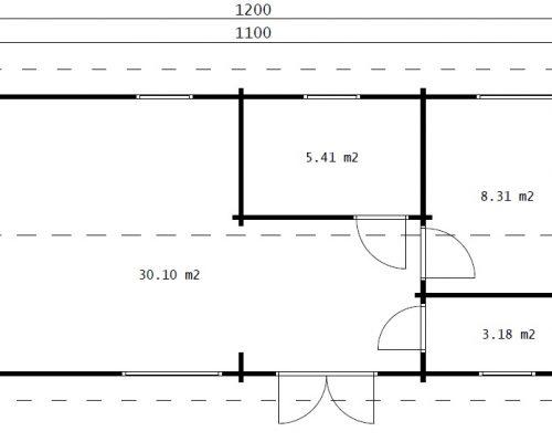 """Holzhaus """"Murcia"""" – 2 Schlafzimmer - 47 m2 / 11x4 m / 70 mm"""