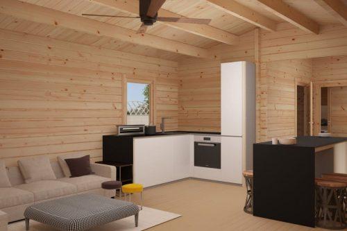 """Holzhaus """"Murcia"""" – 2 Schlafzimmer - 47 m2 / 11 x 4,5 m / 70 mm"""