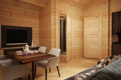 """Blockhaus """"Schweden C"""" mit einem Schlafzimmer"""